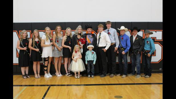 Prom King, Queen, and Court ... Back row: Skylar Vig, Tallyn Pederson, Kaycee Groves Aiyana Byrd, Ariah Engel, Kenley Day, Dawson King, Joel Gifford, Tyson Selby, Tayson Jones, Trey Fuller, Jakob Long. Front row: Rozyn Haines and Henry Fees all posed for a photo during Coronation Monday night of Homecoming 2020.